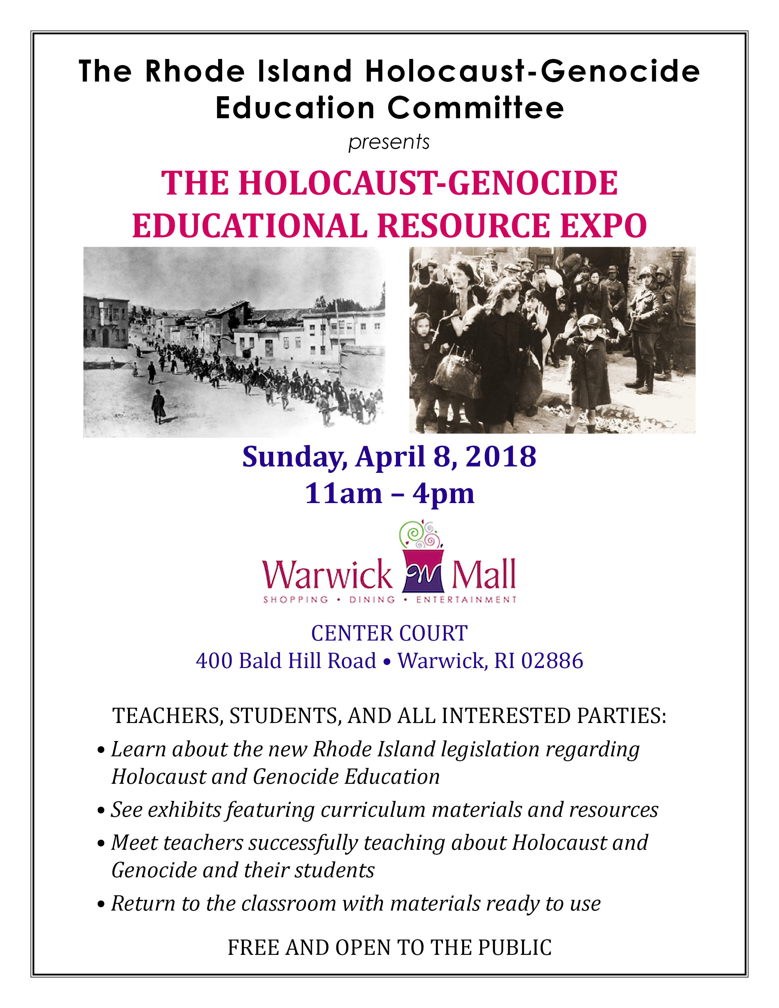 GenEd April 2018 Events | Genocide Education Project